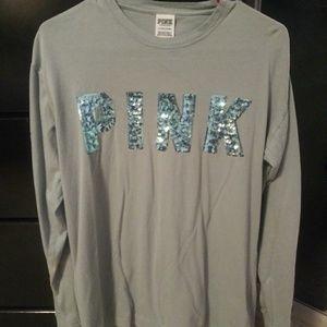 63576a65bd0 PINK Victoria's Secret · Light Blue long sleeved PINK tee